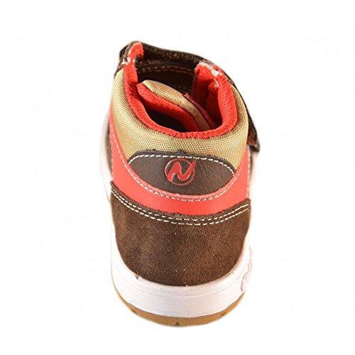 Naturino - Naturino Scarpe Bambino Testa Di Moro Rosso Beige Strappi Velcro Pelle 412 Marrone