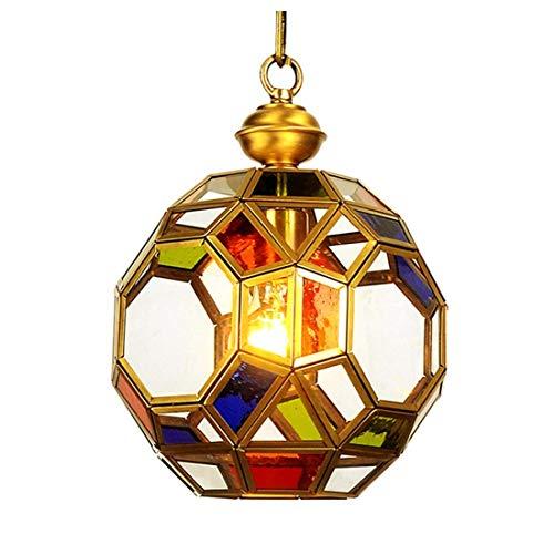 HDDK Moderne Art-goldene hohle Polygon-Metallpendelleuchte, globale kupferne Entwurfs-Deckenleuchte mit Farbglas-Schatten-Leuchter - Messing Schwarz Schatten Leuchter