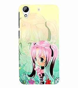 PrintVisa Cute Cartoon Girl 3D Hard Polycarbonate Designer Back Case Cover for HTC Desire 626