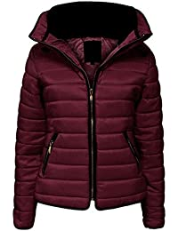 Womens Ladies Quilted Padded Coat Bubble Puffer Jacket Fur Collar Hooded Thick [Wine, UK M]