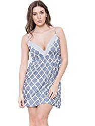 Cottonreal 100% Cotton Grand Tile Ladies Strappy Chemise in Pebble Grey (XXL UK 18/20)