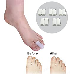 Sumifun 10 Pcs/Bag Silicone Gel Soft Toe Caps Cushions Foot Corns Remover and Reduce Blisters & Calluse Relief Foot Bunion Pain and Hammer Toes Finger Toe Protector Foot Care Massager