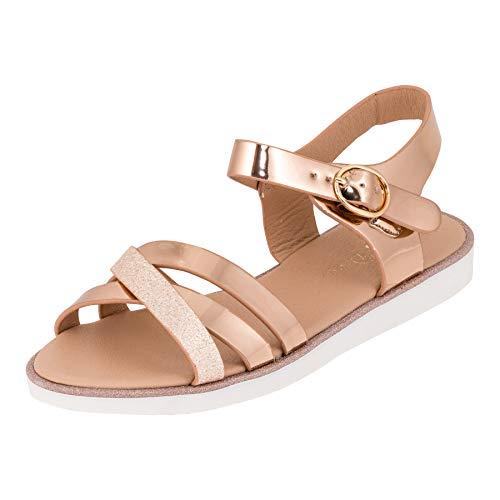 Modische Mädchen Sandalen Sandaletten Kinder Schuhe in Glitzeroptik mit Schnalle M552rsgo Rosa Gold 31 EU
