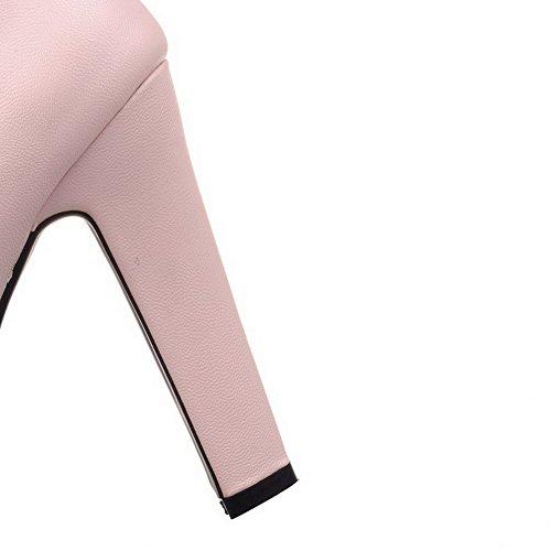 AgooLar Femme Matière Mélangee Couleur Unie Tire Rond à Talon Haut Chaussures Légeres Rose
