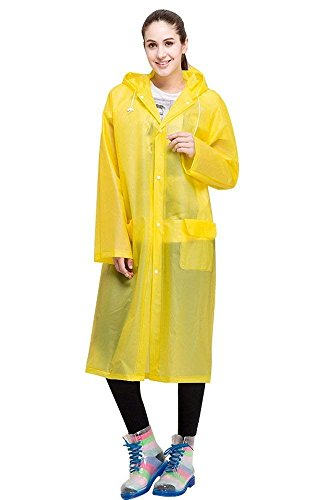 KACOOL Unisex Emergency Reusable Rain Ponchos, Thicker EVA Raincoat with Drawstring Hood & Sleeve Ends for Travel Camping - Outdoors 100% Waterproof Portable Rain Coat for Women Men Adults