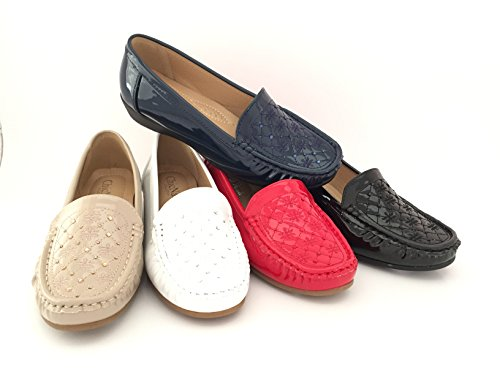 CHIC NANA . Chaussure Femme Mocassins Compensées Vernis à Strass, Semelle intérieur Confort.