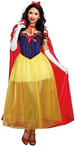 Aimerfeel Damen Disney Fairdale schneeweiß Prinzessinnen rot, blau und gelb Abendkleid-Ausstattungs-Größe (36-38)