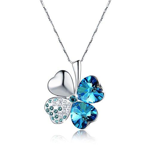 Lucky Four Leaf Clover Love Heart Shaped Anhänger Halskette Fine Blue Crystal Halskette weiß vergoldet für Frauen Faysting Geschenke für Ihre Liebe mit Geschenk-Box (Shaped Anhänger Heart)