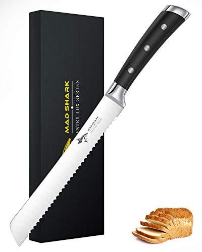 MAD SHARK Brotmesser-Made Sharp 8 Zoll Pro Gezackter Brotschneider, Kuchenmesser aus Deutschem Edelstahl mit Hohem Kohlenstoffgehalt mit Ergonomischem Griff, ultrascharfes Bäckermesser