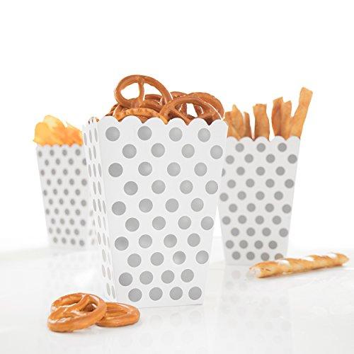 Tüte Happy Dots in Silber - wunderschöne Boxen mit Punkten für Snacks, Süßigkeiten, Popcorn & Geschenke - PARTYMARTY GMBH® (Party Popcorn)