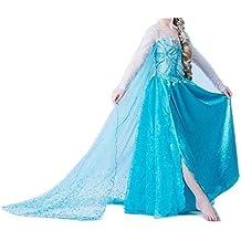 JZK Blue vestido largo traje de reina vestido Elsa por 6-7 años altura 120cm niñita vestido de lujo para Frozen themed cumpleaños partido Navidad Víspera de Todos los Santos traje de fiesta
