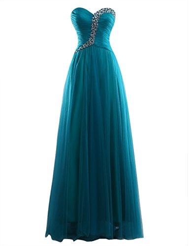 Dresstells Damen Herzform Tüll Abendkleider Bodenlang Promi-Kleider Mit Schnürung Lilac