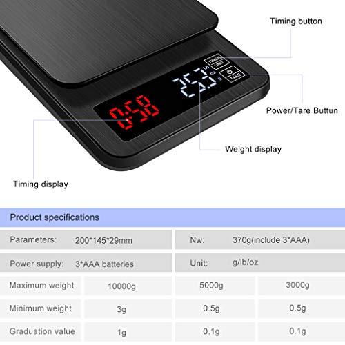 Flushzing LCD-Digital-elektronische Drip Coffee-Skala Timer 3kg / 5kg / 10kg 0.1g Digital Kaffee Gewicht Haushalt Drip-Skala