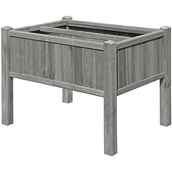 hochbeet kr uterbeet grau aus holz 109x46x80 mit pflanzkasteneinsatz f r balkon von gartenpirat. Black Bedroom Furniture Sets. Home Design Ideas