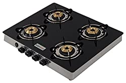 brightflame 4 Burner Glass Cook Top - Tulip SS, Isi Approve for LPG Customers, Manual Ignition