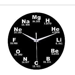 smyzll Elemento químico Tabla periódica Disco de Vinilo Reloj de Pared Química Fórmula matemática Ciencia Reloj de Pared Friki Gráfico Aula