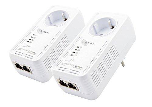 Allnet ALL1681205DOUBLE Powerline (1200Mbit, 2er Bundle Bridge, RJ45, HomePlugV2)