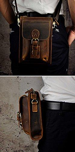 Le'aokuu Borsa in vera borsa da uomo Fanny in pacchetto di anca in pelle marrone tattico da viaggio (Il 021 Brown) 6402 Il Marrone