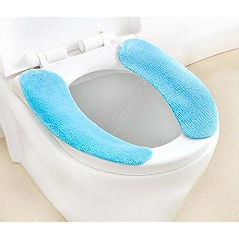 Loveathome (TM) de asiento de inodoro Almohada lavable pegajosa del ante de asiento de inodoro más cálido cubierta del amortiguador para Baño (azul)