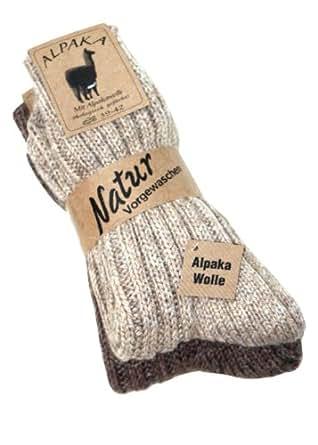 """2 Paar flauschig warme Alpaka Socken Winter Socken """"warme Füße in der kalten Jahreszeit"""" (35-38, Beige/Braun)"""