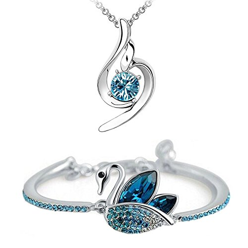 Om Jewells Crystal Jewellery Platinum Plated Curvy Pendant Necklace and Swan Bracelet Combo Set for Women and Girls CO1000033