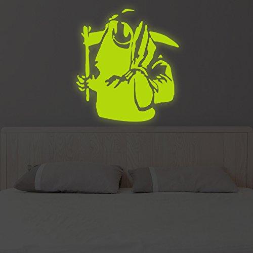(109x 120cm) Banksy Glowing Vinyl Wand Aufkleber Death mit Happy Smile Face/Glow in Dark Doom mit Braid Aufkleber/Leuchtziffern Wandbild + Gratis Aufkleber Geschenk (Happy Face-wand-aufkleber)