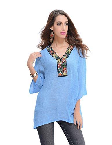 WanYang Donne V-Neck Floral Maglia a Manica 3/4 T-Shirt Tops Blouse Donna Maglietta Camicetta Casual V-collo Azzurro