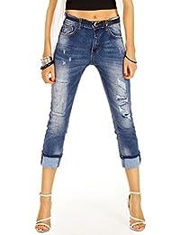 Bestyledberlin Damen Jeans 7/8 Schnitt, Destroyed High Waisted Jeanshosen, Used Look Boyfriendjeans kurz j45i
