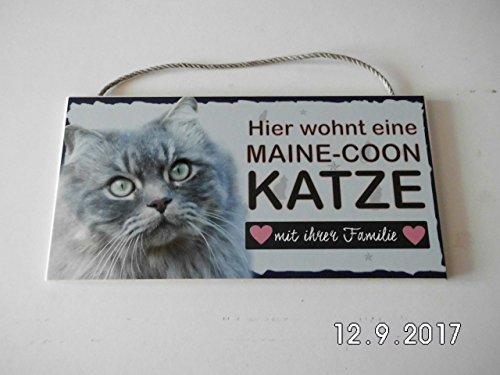 Türschild Maine-Coon Katze (40) aus Holz Schild deutsche Herstellung