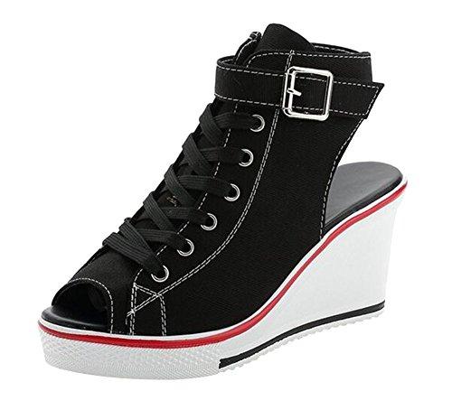 wealsex Baskets Mode Compensée Chaussure de Sport Sneakers Chaussures Casual Toile Sandales Bout Ouvert Boucle Lacets Grande Taille 35-41 Femme