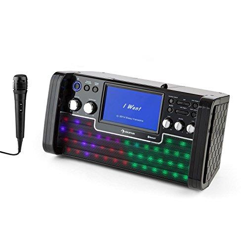 auna DiscoFever • Karaoke Anlage • Karaokeplayer • Karaoke Set • Bluetooth • 7 Zoll TFT-Display • 1 x dynamisches Mikrofon • LED-Effekte • CD+G-Player • USB-Port • Echo-Effekt • A.V.C. Funktion • Video-Ausgang • AUX-Eingang • Aufnahmefunktion • schwarz - 9