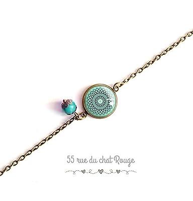 bracelet chaine fine, cabochon Cabochon esprit Maroc, Bleu tendre, bleu turquoise