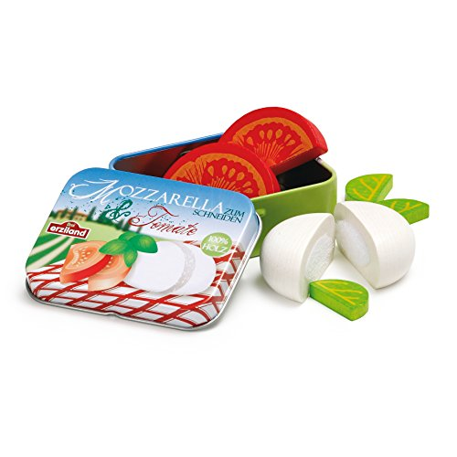 Erzi 17045 Mozzarella and Tomato Toy in a Tin, Multicoloured