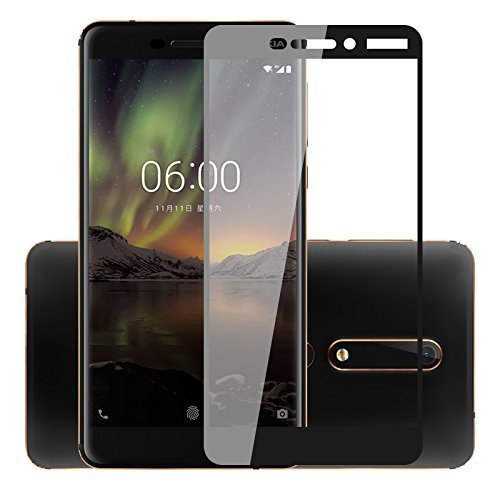 Frazil Full Glue, Full Coverage Edge-to-Edge 5D Tempered Glass Screen Protector for Nokia 6.1 2018 (Black)