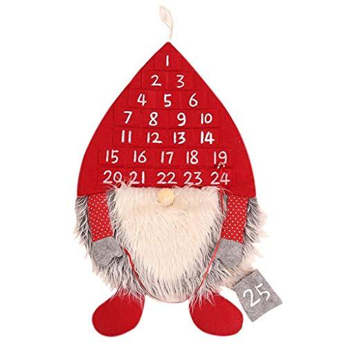 Kostüm Kalender Mann - WOBANG Weihnachts deko, Weihnachtsdekoration Weihnachtsschmuck Weihnachten Hauptdekorationen Weihnachten Wald Mann Kalender Weihnachten Kalender Wandanhänger 24 Tage (Rot)