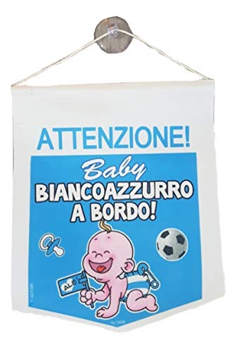 (Kleinen Monelli Bebe mit Saugnapf-Bordüre Gadget Napoli Aufmerksamkeit für Kinder im Rand Tifoso Napoletano Weiß Hellblau Ideal als Geschenk)