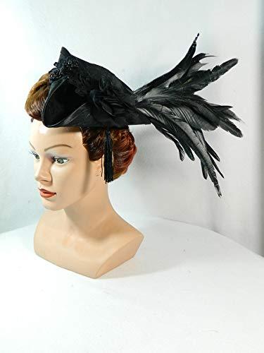 Mini Dreispitz Damenhut historisch Kostüm Headpiece Marie Antoinette Barock Rokoko ()