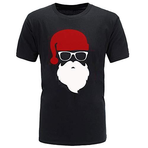 Mymyguoe Herren Kurz T-Shirt Weihnachten Bluse der Männer Weihnachts Druckt Sweatshirt Oberteile Lose Tunika Top Black Friday Cyber Monday Große Größe Pulli Pullover