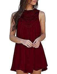 Mini Robe en Mousseline de Soie Femmes O-Cou sans Manches Casual Solid Lace  Stitching 04520ca1f6c