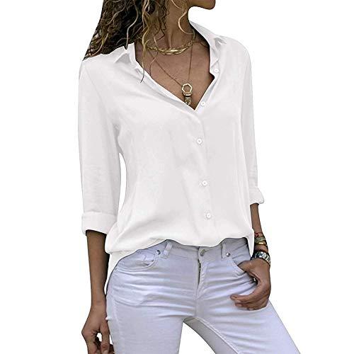 Decai Donna Camicia Bluse Chiffon Collo a V Bluse Manica Lunga OL Camicia Botton Down Taglia Casual Loose Top Camicetta Bianco 42-44 EU