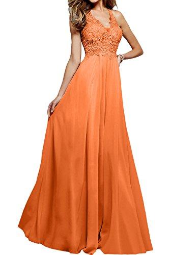 Ivydressing Hochwertig Neu V-Neck Spitze Abendkleider Lang Ballkleider Promkleider Orange