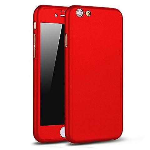 iPhone 6/6s 360 Degres + Protection en Verre Trempé, [360 °] [Rouge]Coque de protection avant et arrière cases iPhone 6/6s Integrale pour iPhone 6/6s