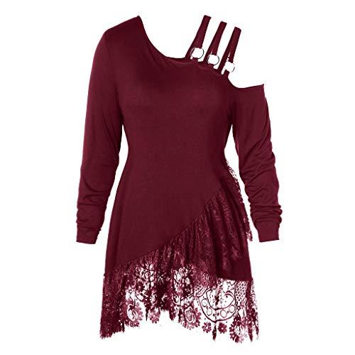 REALIKE Mode Frau Irregulär Neigung Halsband Gürtel T-Shirt Einfarbig Patchwork Bluse Kalte Schulter Lange Ärmel Tops Oberteile Tuniken
