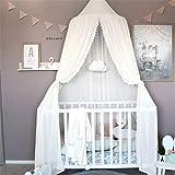 CULASIGN Betthimmel für Kinder Baby Baldachin Spielzimmer Fotografieren Prinzessin Chiffon hängende Moskitonnetz für Schlafzimmer Dekoration für Bett und Schlafzimmer (Weiß)
