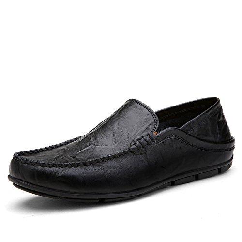 Lily999 mocassini in pelle uomo casual eleganti slip on penny loafers scarpe da guida barca nero blu marrone 38-46(nero,42 eu)