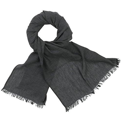 LINDENMANN Herren Schal Sommer / 100% Baumwolle, Herrenschal, schwarz-grau