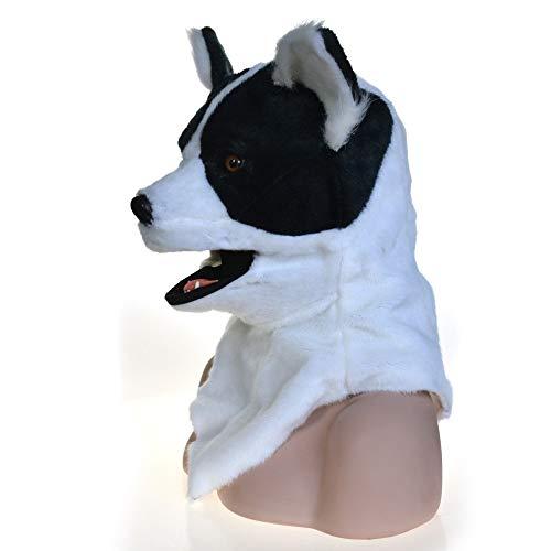 Realistische Tiermaske Handgemachte Simulation Tier Hundekopf Maske Moving Mouth Maske for Halloween Karneval festliche Party Supplies (Color : Black)