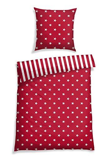 Schiesser Bettwäsche Sterne Rot, 100% Baumwolle, Größe:135 x 200 cm + 80 x 80 cm