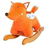 Labebe Bebé Mecedora Madera, Naranja Fox Forma Mecedora Caballo de Peluche para bebé de 1-3 años de Edad, Columpio de Caballo Bebé/Columpio de Interior y Jardín/Columpio de Madera