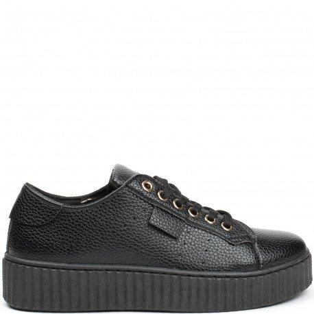 Ideal Shoes - Baskets nacrées style creepers Coraline Noir